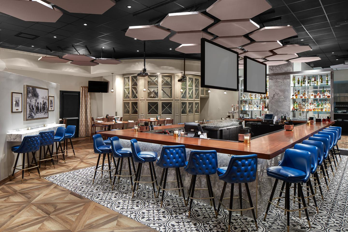 Modern industrial architecture and design blue barstools